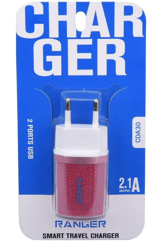 Sạc điện thoại Ranger 2A (đèn Led) (Hồng)
