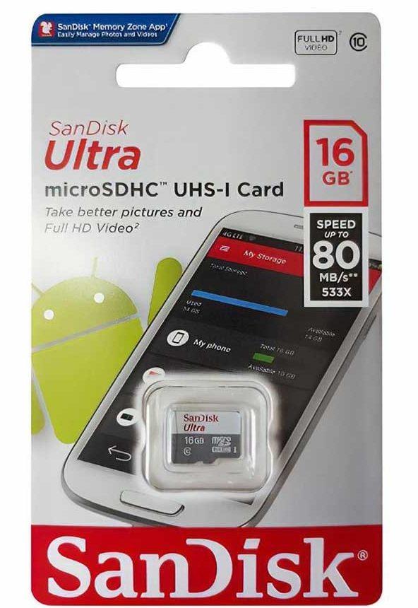Thẻ nhớ Micro SDHC Sandisk 16GB (class 10) Ultra