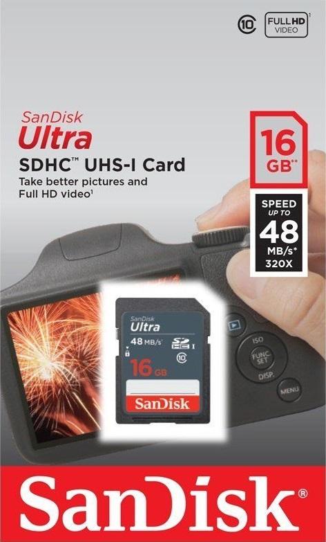 Thẻ nhớ SDHC Sandisk 16GB (class 10) Ultra 2