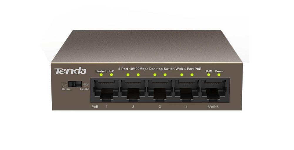 Thiết bị mạng/ Switch PoE Tenda 5P TEF1105P (Nâu)