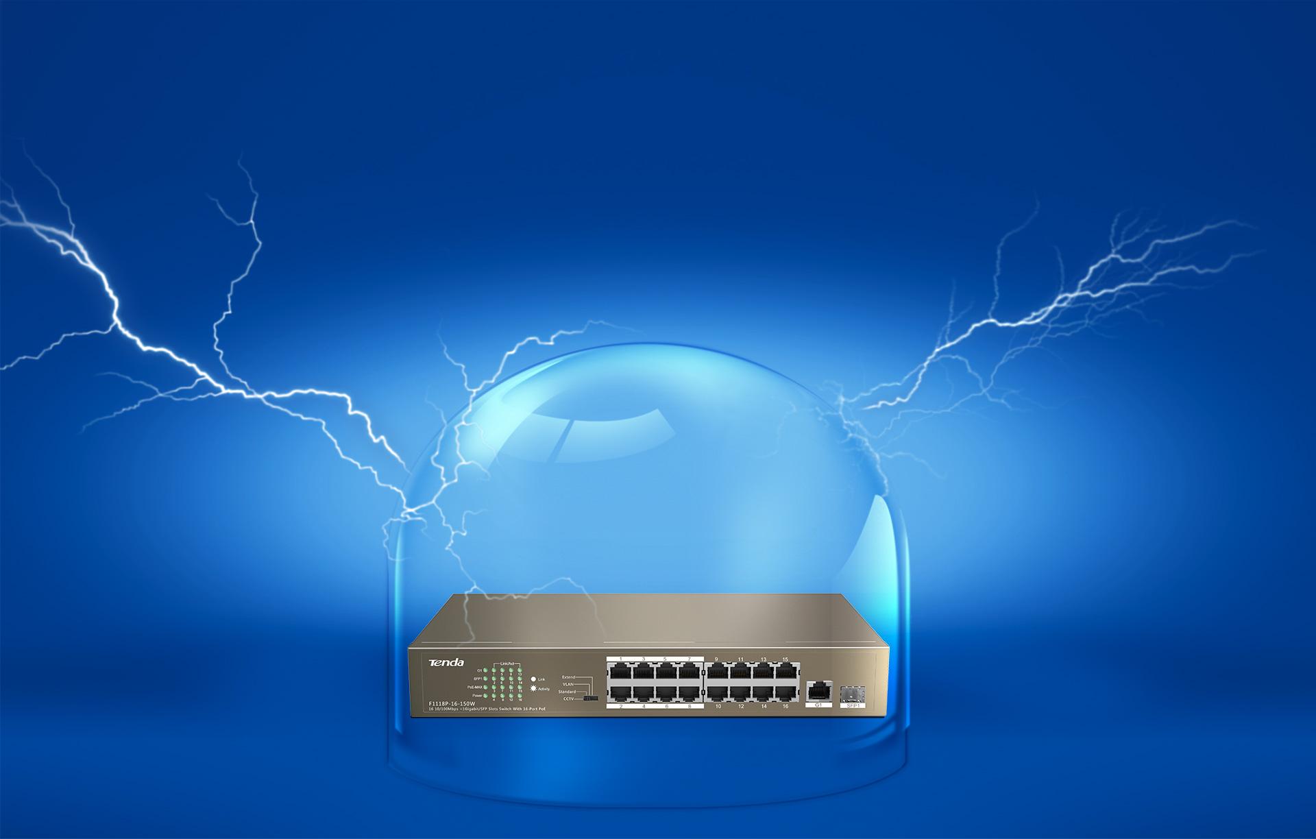 Thiết bị mạng/ Switch PoE Tenda 16P TEF1118P (Nâu)