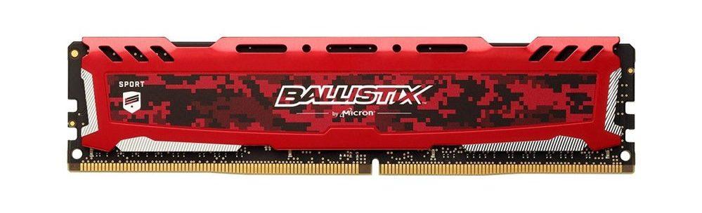 Bộ nhớ/ Ram Crucial Ballistix Sport LT 8GB DDR4 2666 Heatspreader (BLS8G4D26BFSE) (Đỏ)thiết kế đặc biệt cho game thủ