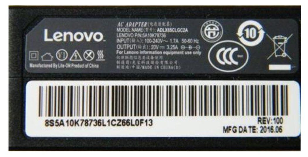 Adaptor Lenovo 20V-3.25A vuông zin (đầu số 5)