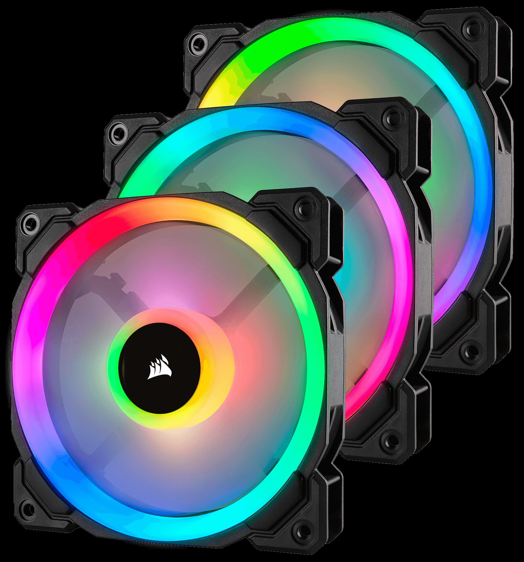Fan Corsair LL120 RGB 120mm Dual Light Loop RGB LED PWM Fan (Gồm 3 Fan với Lighting Node PRO) (CO-9050072-WW) 4