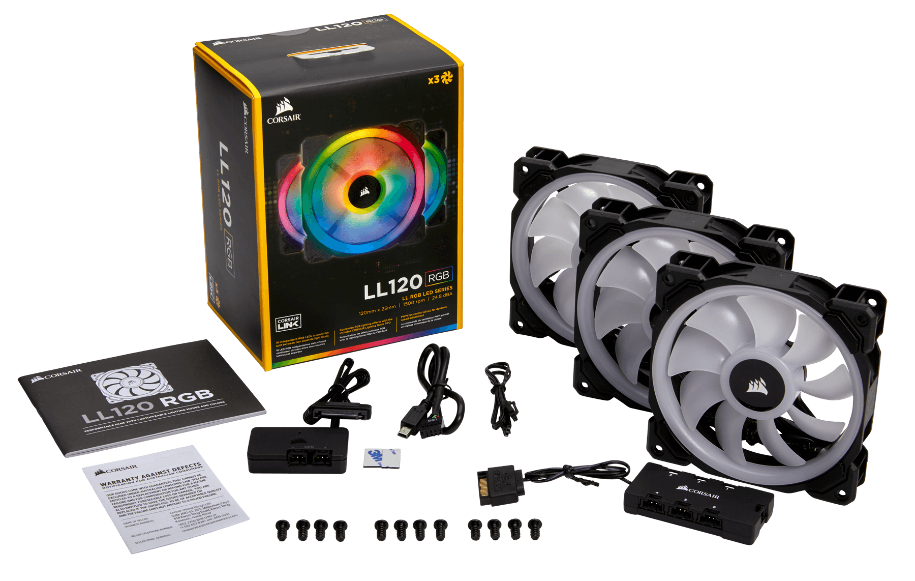 Fan Corsair LL120 RGB 120mm Dual Light Loop RGB LED PWM Fan (Gồm 3 Fan với Lighting Node PRO) (CO-9050072-WW)