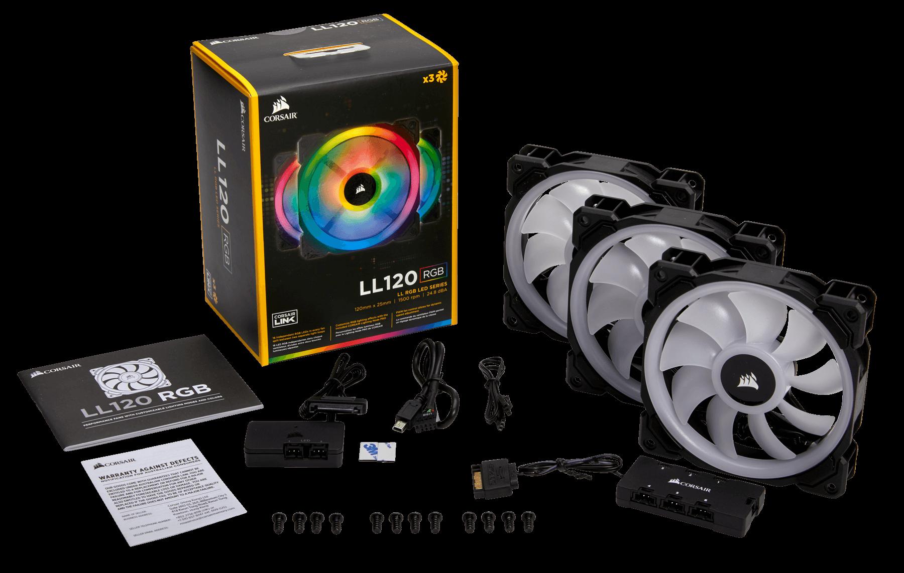 Fan Corsair LL120 RGB 120mm Dual Light Loop RGB LED PWM Fan (Gồm 3 Fan với Lighting Node PRO) (CO-9050072-WW)