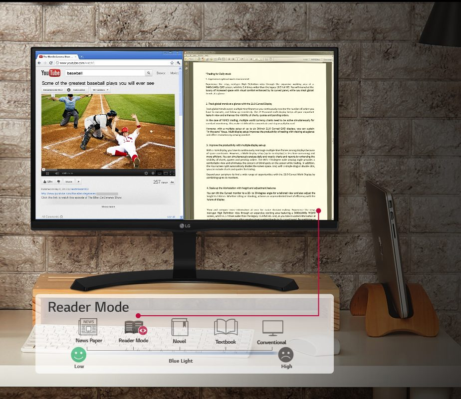 Tính năng Flicker Safe và Reader Mode trên Màn hình LCD LG 24'' 24MK600