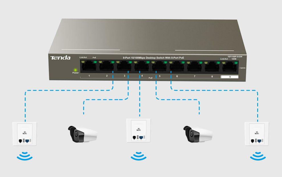 Thiết bị mạng/ Switch PoE Tenda TEF1109P (Xanh)