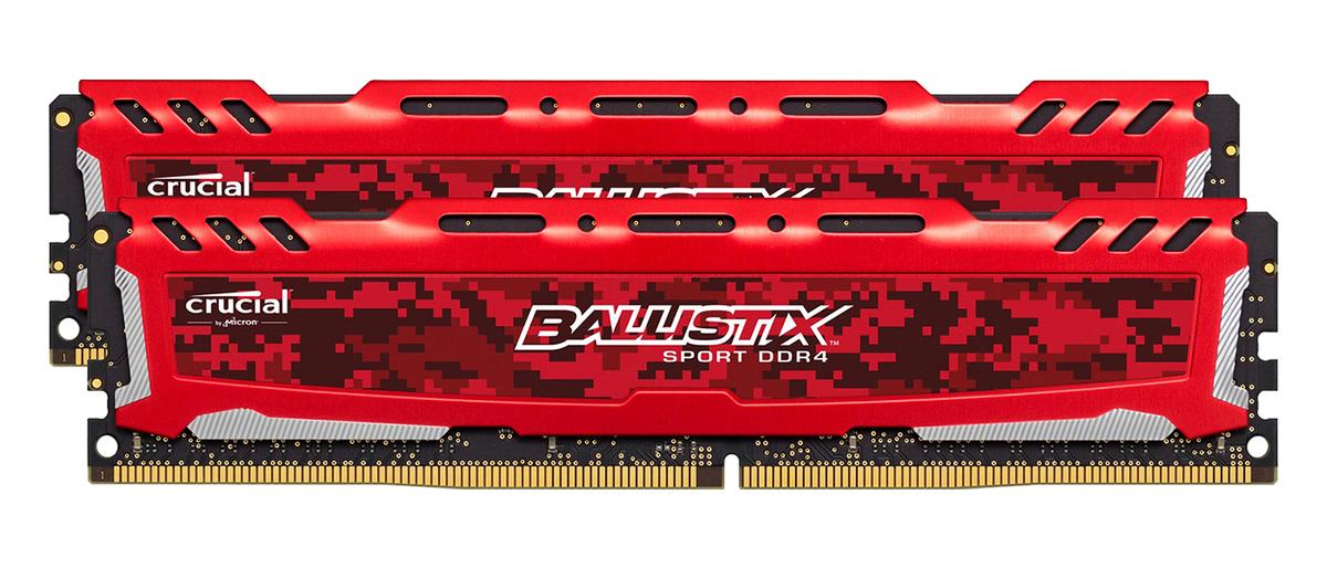 Bộ nhớ/ Ram Crucial Ballistix Sport LT 16GB DDR4 2666 Heatspreader (BLS16G4D26BFSE) (Đỏ) thiết kế đặc biệt cho game thủ