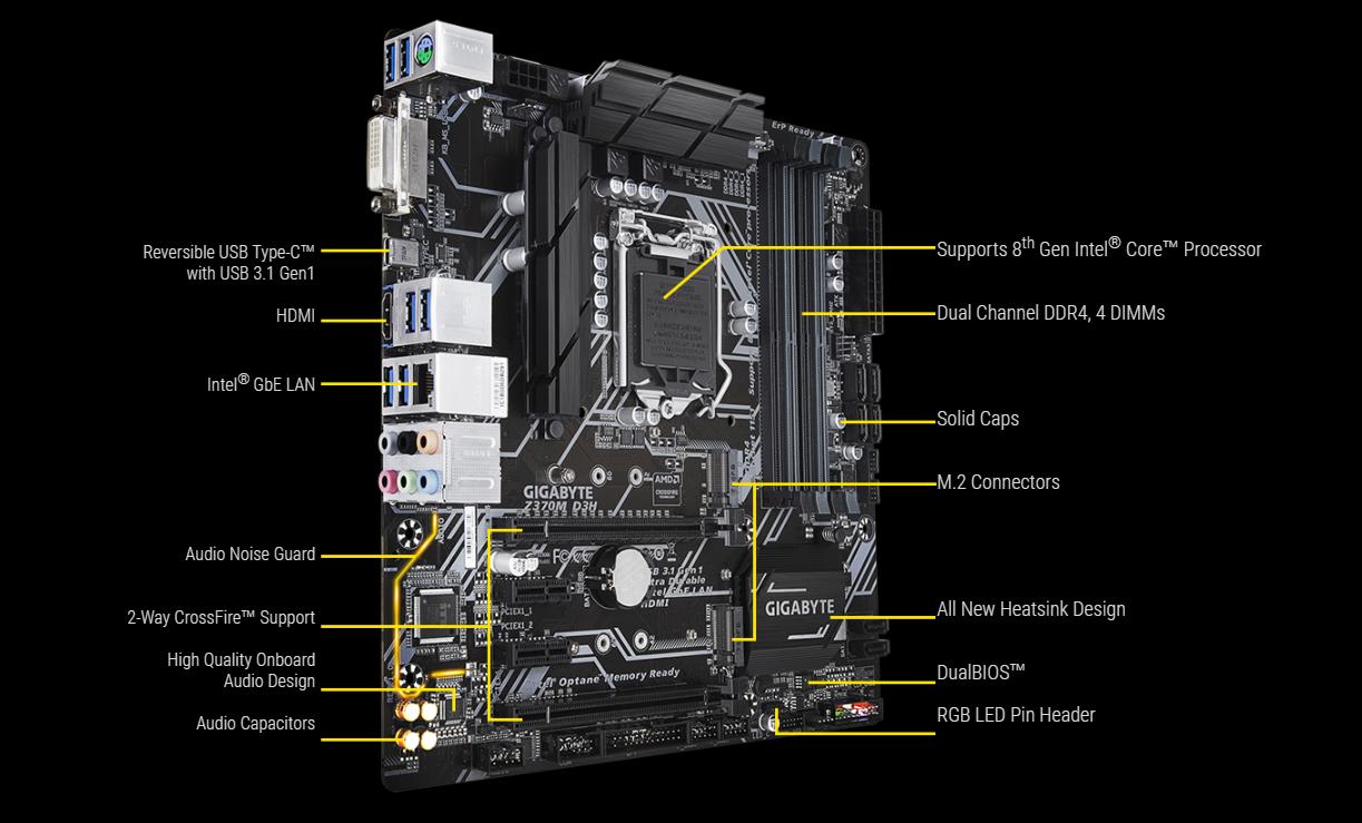 Bo mạch chính Mainboard Gigabyte Z370M-D3H