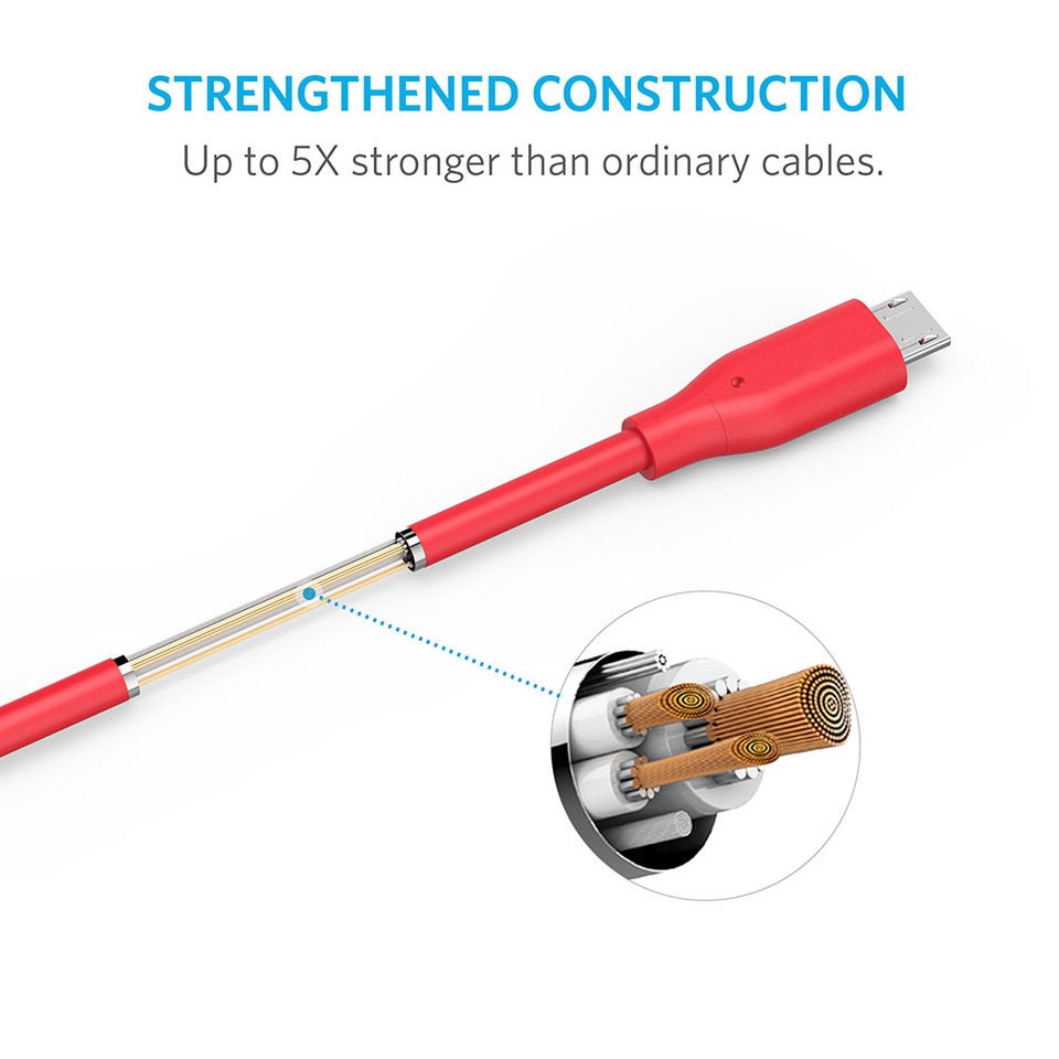 Cáp Micro USB Anker PowerLine 3m - A8134H91 (Đỏ)