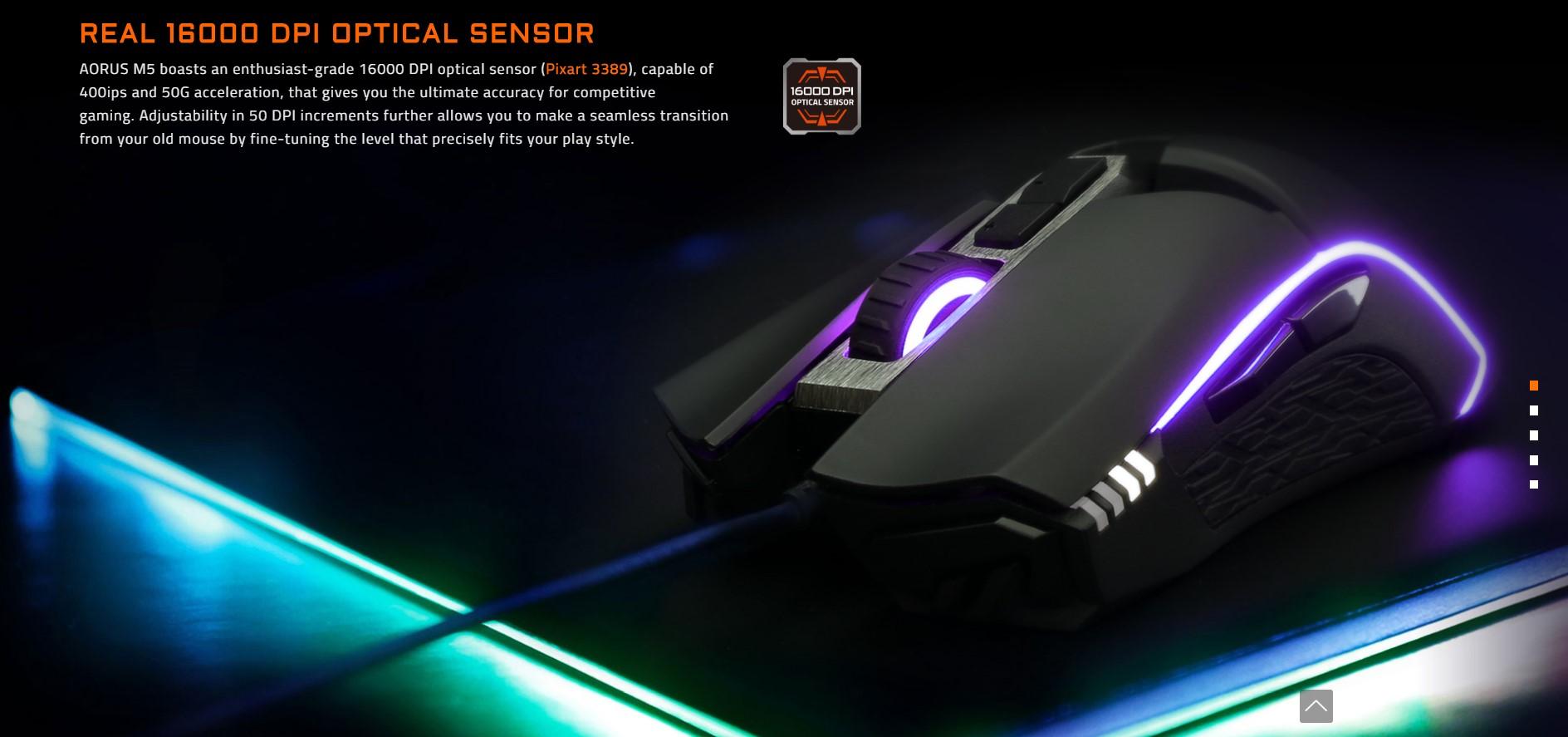 Chuột máy tính Gigabyte Aorus M5 Gaming (Đen)