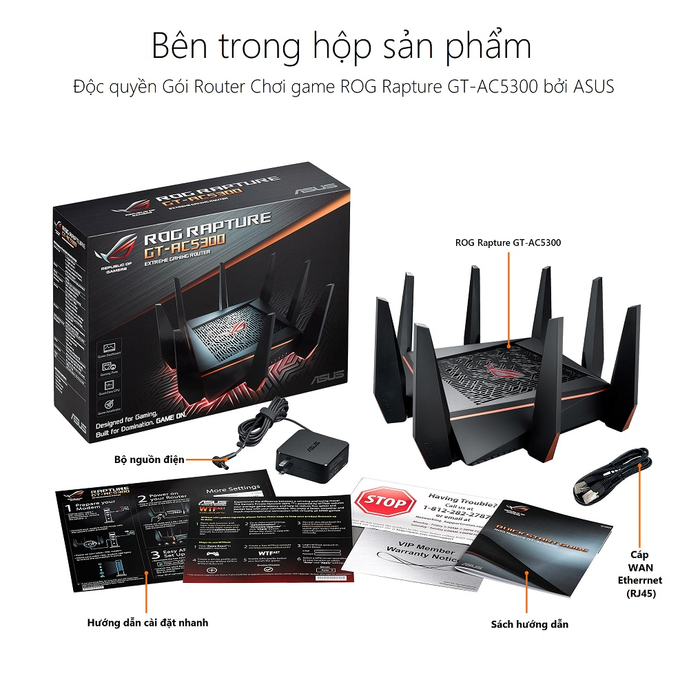 Thiết bị mạng ASUS ROG RAPTURE GT-AC5300 GAMING WIFI ROUTER - WITB - Phong Vũ