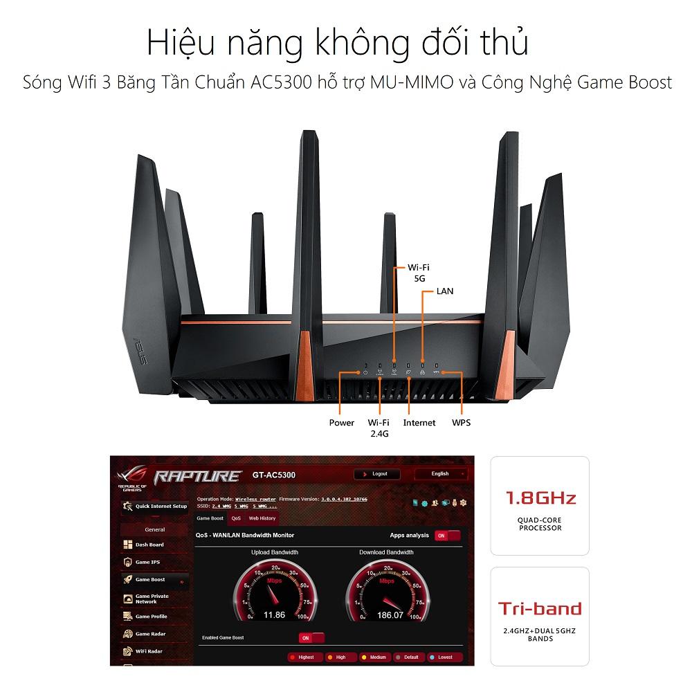 Thiết bị mạng ASUS ROG RAPTURE GT-AC5300 GAMING WIFI ROUTER - performance - Phong Vũ