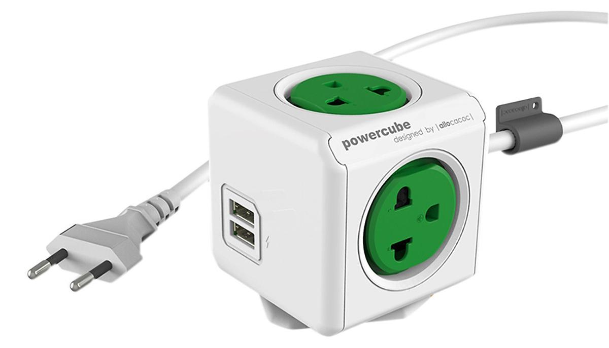Ổ cắm điện có dây 1.5m Allocacoc -màu xanh lá