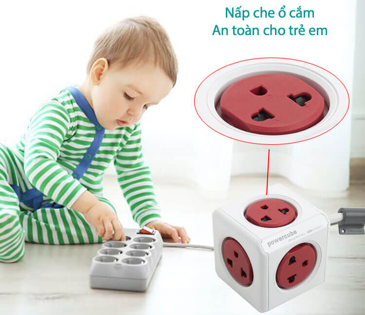 Ổ cắm điện có dây 1.5m hiệu Allocacoc an toàn cho trẻ nhỏ