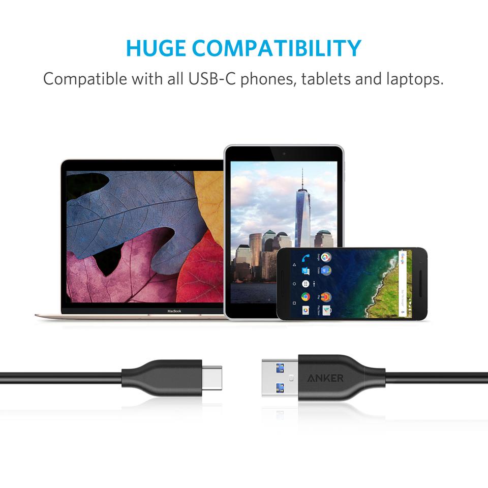 Cáp sạc Anker PowerLine USB 3.0 ra USB-C - 0,9m - A8163 (Đen)-9