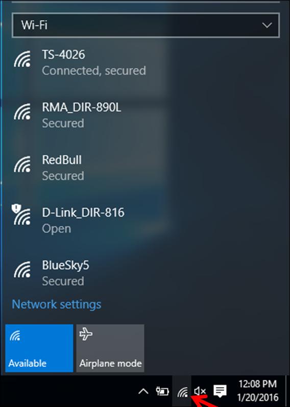 Sau khi hoàn tất, ở góc dưới bên phải màn hình của bạn, nhấp vào biểu tượng wifi để quét và kết nối với mạng không dây của bạn
