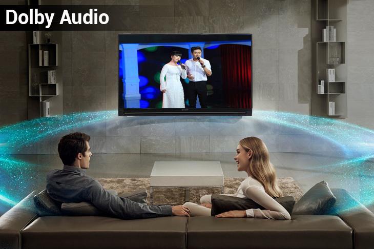 Dolby Audio tivi sharp đem tới âm thanh bùng nổ mạnh mẽ