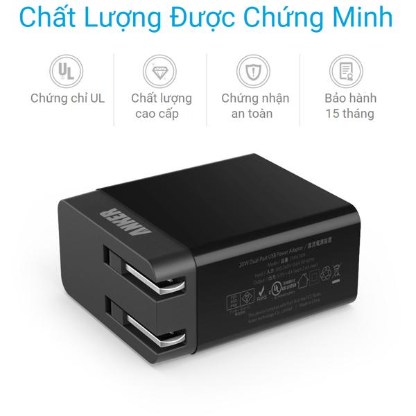 Dòng sản phẩmAnker PowerPort 2 Lite, 2 x IQ port - A2129 tích hợp công nghệ sạc nhanh độc quyền với chip điều khiển thông minh PowerIQ cùng công nghệ ổn định dòng VoltageBoost cho tốc độ sạc nhanh hơn các loại sản phẩm thông thường. Củ sạc sẽ nhận diện thiết bị của bạn một cách tự động và sạc đầy nhanh chóng. *Không hỗ trợ Qualcomm Quick Charge 2.0