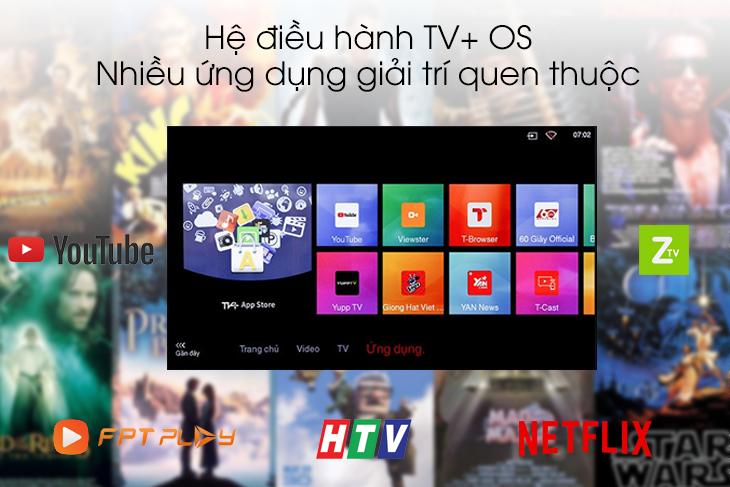 hệ điều hành TV+OS dễ dàng sử dụng đa dạng ứng dụng giải trí