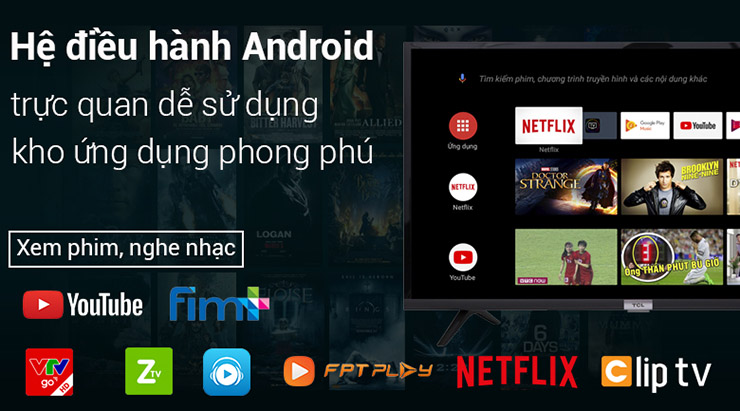 Smart Tivi TCL 4K 43 inch L43P8 sử dụng hệ điều hành Android trực quan dễ dàng sử dụng