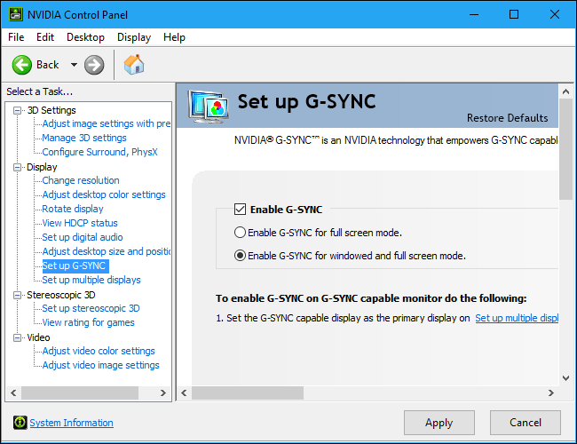 How to set up NVIDIA-G-Sync