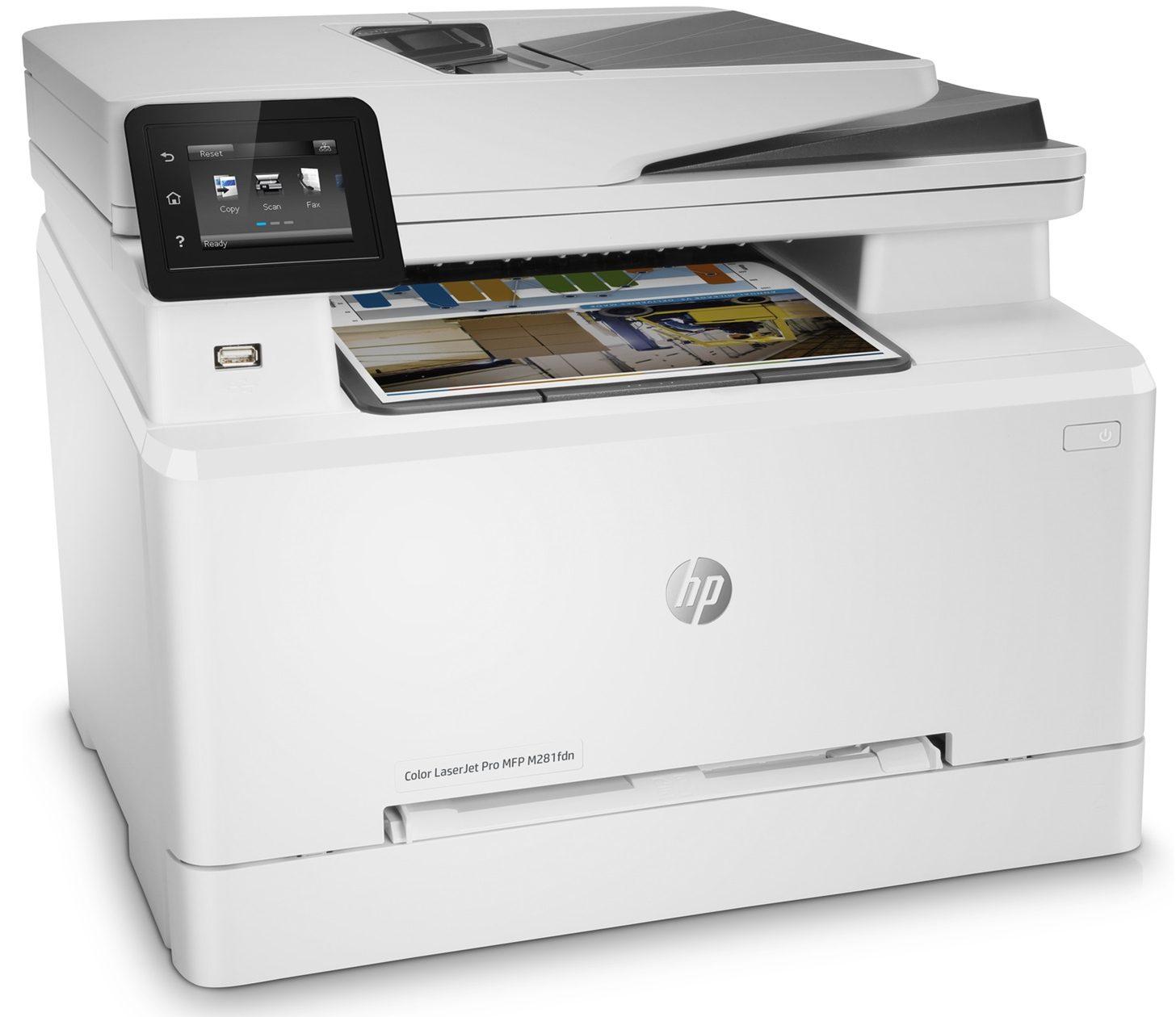Máy in laser màu HP Pro MFP M281FDN (T6B81A) thiết kế đẹp mắt phù hợp với mọi văn phòng