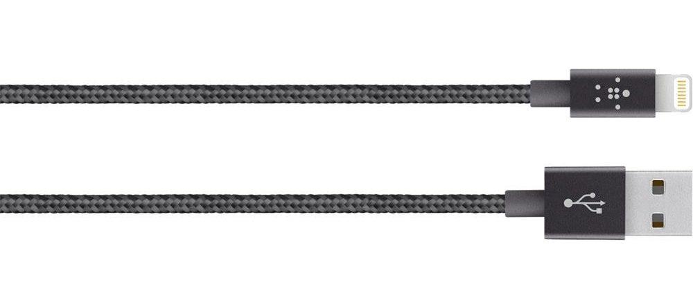 Cáp Sạc Lightning Belkin MIXIT F8J144bt04-BLK Hợp Kim Siêu Bền 1,2 Mét MFi (Đen)-3