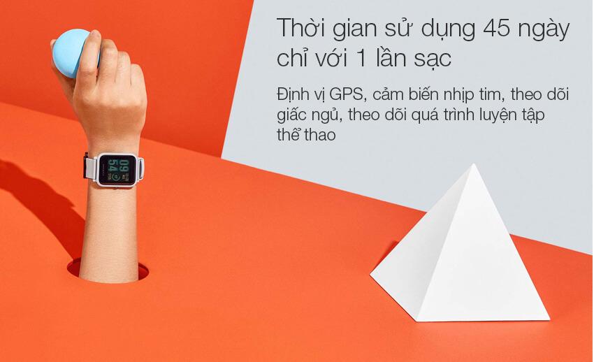 Vòng Đeo Tay Thông Minh Xiaomi Amazfit Bip (UYG4024RT) thời gian pin lâu kéo dài