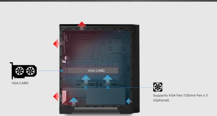 Case máy tính Aerocool Cylon MID TOWER RGB màu Đen