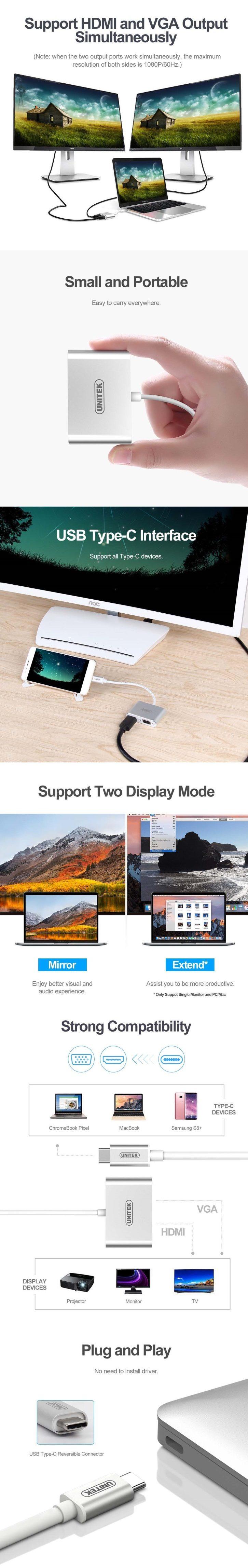 Cable Type-C - HDMI+VGA Unitek Y-V100SL