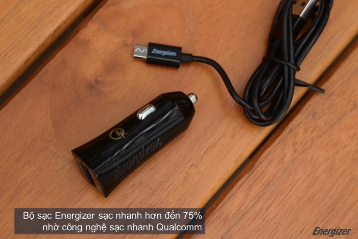 Sạc ô tô Energizer QuickCharge Qualcomm 2.0 DCA1QHMC3 (Kèm cáp Micro USB)