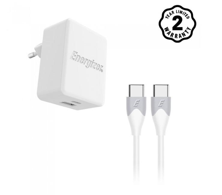 Sạc Energizer 30W PD18W 1x USB-C - 1x USB-A Kèm Cáp USB-C 2.0 - AC11PFEUUCC3 (Trắng)