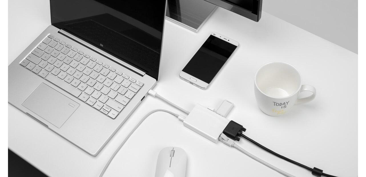 Bộ chuyển đổi/ Adapter Xiaomi chuyển USB Type C sang VGA - Ethernet (JGQ4005TY)_1