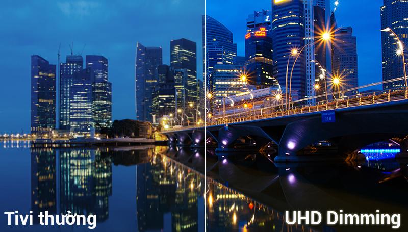 UHD Diming tái tạo màu sắc làm tăng độ nét và tương phản của hình ảnh. Mang đến hình ảnh sống động cho người xem