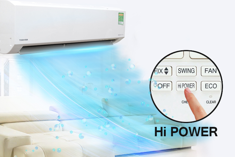 Máy lạnh - điều hòa Toshiba 2.5 HP RAS-H24U2KSG-V với chế độ làm lạnh nhanh Hi Power