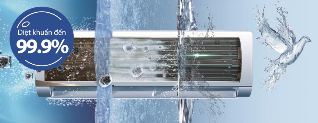 Công nghệ tự làm sạch 3 bước Aqua Fresh cao cấp trên điều hòa Aqua