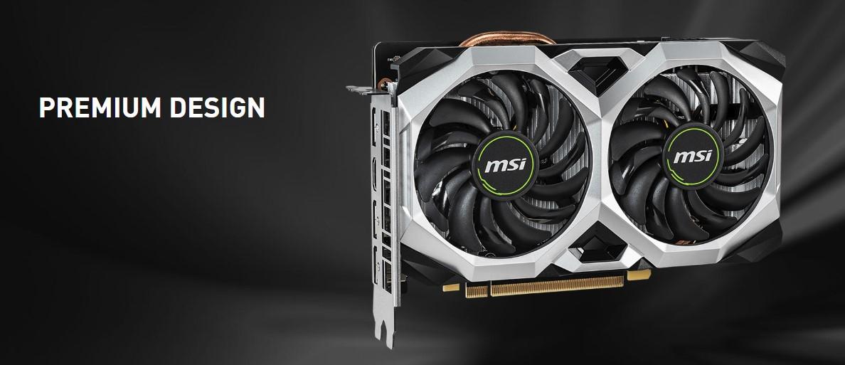 Giới thiệu card đồ họaMSI GeForce RTX 2060 6GB GDDR6 VENTUS OC MSI GeForce RTX 2060 6GB GDDR6 VENTUS OC là mẫu card đồ họa tầm trung mới mất của MSI, sử dụng bộ xử lý đồ họa RTX 2060 với khả năng xử lý tương đương với GTX 1070Ti và hỗ trợ tính năng RTX, DLSS mới nhất giúp đem lại trải nghiệm chơi game tốt nhất, kèm theo thiết kế tản nhiệt độc quyền tới từ MSI, đem lại sự hoạt động ổn định và êm ái. Thiết kế MSI GeForce RTX 2060 6GB GDDR6 VENTUS OC đem lại thiết kế hoàn toàn mới với tông màu đen và trắng rất dễ phối màu với nhiều cách kết hợp khác nhau. Kèm theo là tấm