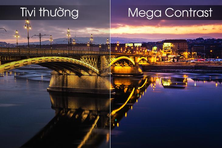 công nghệ hình ảnh mega contrast được tích hợp trong tivi samsung
