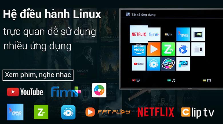 Smart Tivi Sony 4K 43 inch KD-43X7000G sử dụng hệ điều hành Linux với nhiều ứng dụng giải trí đặc sắc