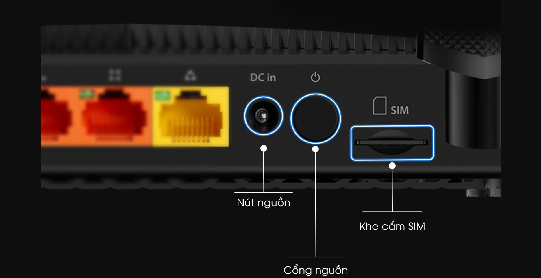 Router Bộ định tuyến 4G-LTE Totolink LR1200-cổng
