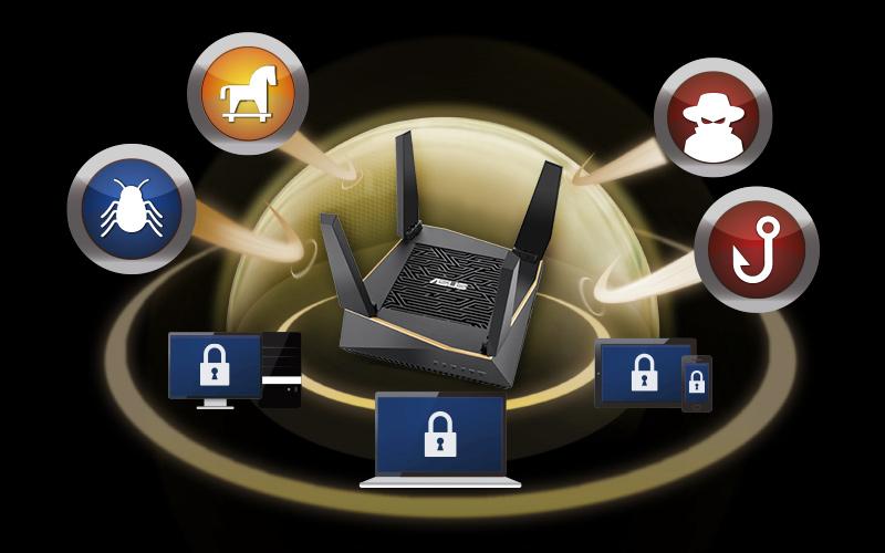 thiết bị định tuyến không dây Asus AiMesh AX6100 Wifi System RT-AX92U (2PK)-AiProtection Pro