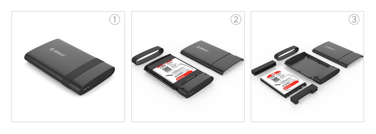 Box ổ cứng 2.5'' Orico 2538U3 SSD HDD Sata 3 USB 3.0-5