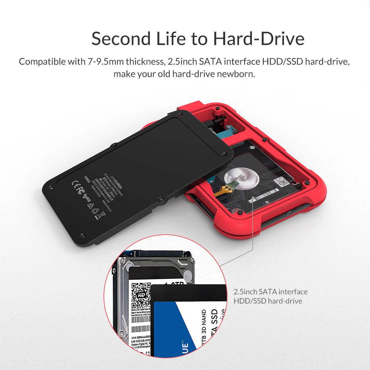 Box ổ cứng 2.5'' Orico 2769U3-RD SSD HDD Sata 3 USB 3.0 (Đỏ)-6