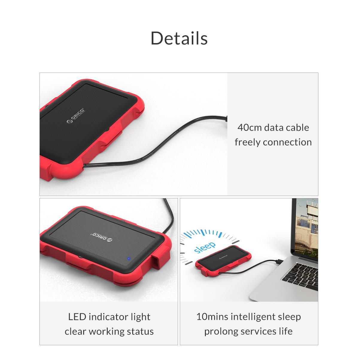 Box ổ cứng 2.5'' Orico 2769U3-RD SSD HDD Sata 3 USB 3.0 (Đỏ)-8