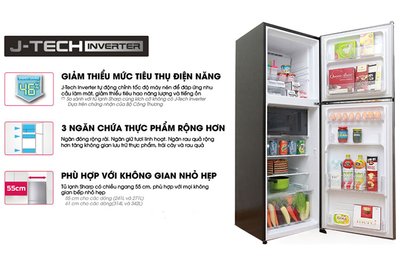 Tủ lạnh Sharp Inverter 241 lít SJ-X251E-SL