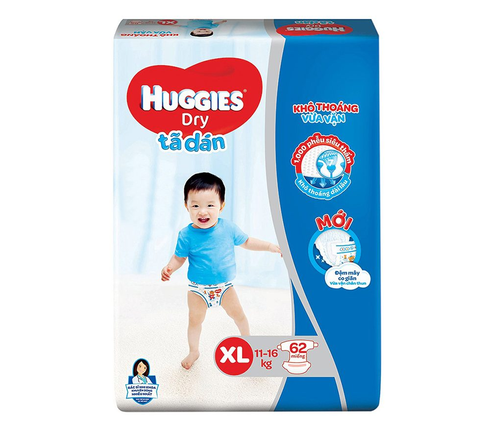 Tã Dán Huggies Dry Gói Cực Đại XL62 (62 Miếng)
