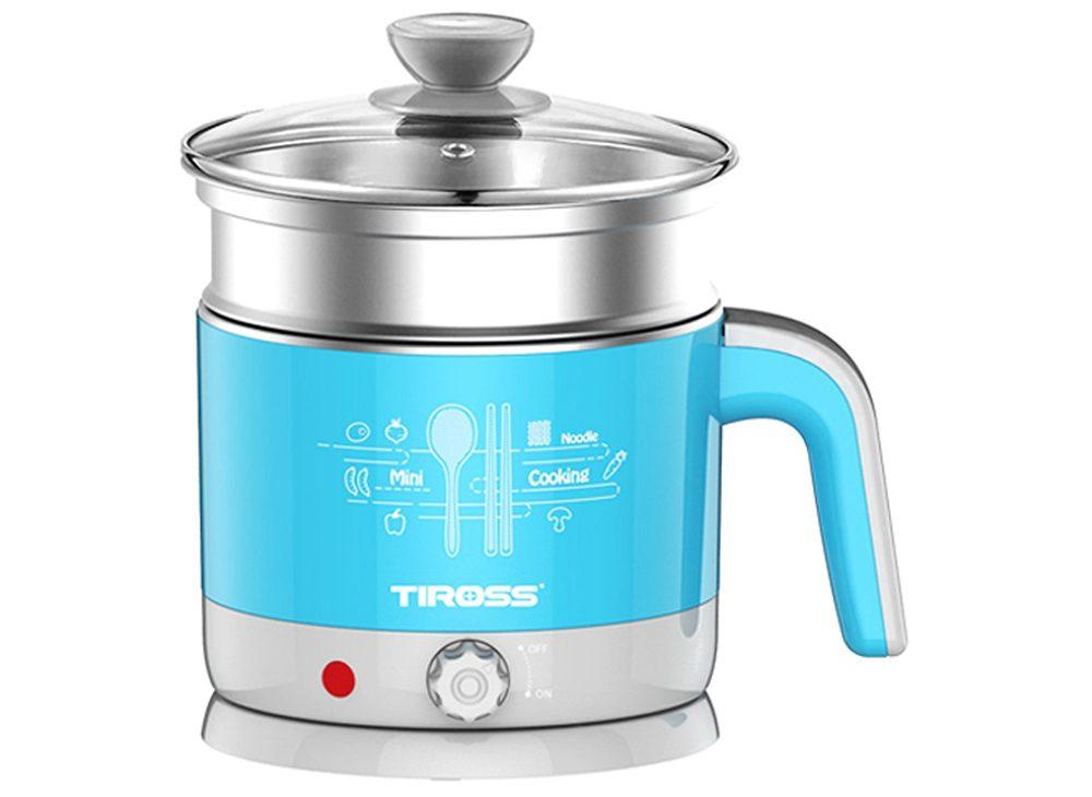 Ấm đun nước đa năng 1.2L Tiross 1000W(màu xanh) (Có giá hấp và hấp trứng)
