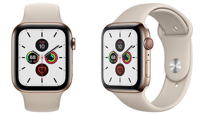 Apple Watch S5 (LTE) 44mm - Viền thép vàng, dây cao su trắng kem (MWWH2VNA)
